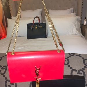 YSL RED WITH GOLD CHAIN PURSE